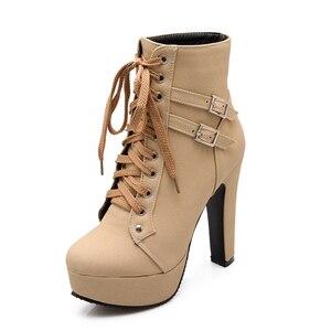 Image 2 - MCCKLE حجم كبير حذاء من الجلد النساء منصة عالية الكعب الإناث الدانتيل يصل أحذية نسائية مشبك امرأة التمهيد القصير السيدات الأحذية