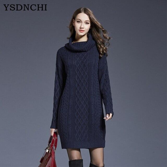 YSDNCHI 2019 Winter Knit Pullover Sweater Dress Lady High Collar Autumn  Long Sleeve Warm Turtleneck Woollen Dress High Quality 022d842d43a6