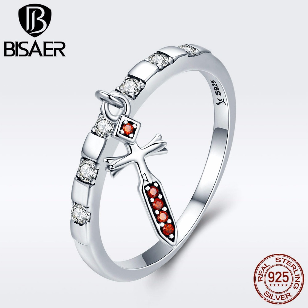 100% 925 Sterling Silver Clearly CZ, Tuesday Love Sword Cross Finger Rings for Women Girl Fine Jewelry Gift Wedding anneau