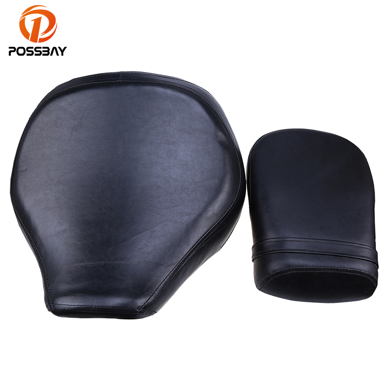 POSSBAY Motorcycle Rear/Front Seat PU Leather For SUZUKI VL400/800 01-12 Motorcycle Cafe Racer Bobber Seat Cover Bicycle Seat