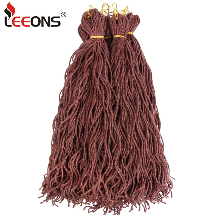 Leeons Hot Selling Wavy Faux Locs Synthetic Hair For Braid Micro Braiding Hair Pre Looped Crochet Braids 20Inch Black Color