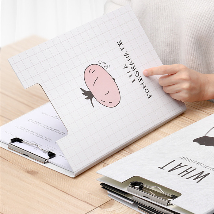 1 Piece Kawaii A4 File Folder Board Document Paper Clip Writing Board Metal Report Cover Spine Bar Office Stationery