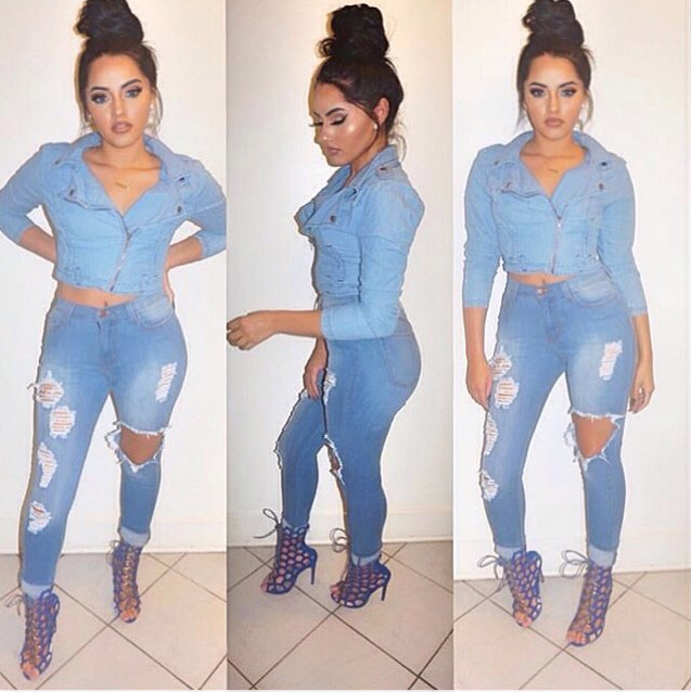 2015 Mid Waist Jeans Woman Knee Skinny Pencil Pants Slim Denim