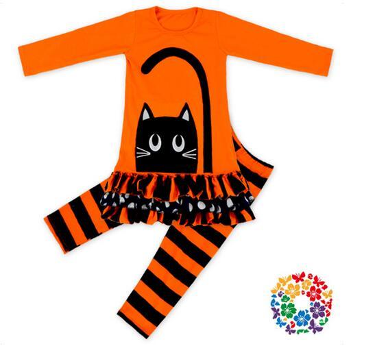 Girls Fashion Halloween Suits 100% Cotton 2017 Autumn Cat Dress+Striped Kids 2PCS Pant Sets Childrens Clothing 6pcs/lot