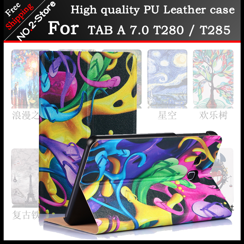 For Samsung Galaxy Tab A 7.0 SM-T280 SM-T285 Slim Magnetic Flip print pu Leather cover for Samsung T280 T285 case Tablet cases аксессуар чехол it baggage for samsung galaxy tab a 7 sm t285 sm t280 иск кожа red itssgta70 3
