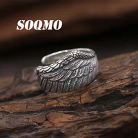 SOQMO New Personalized Ring Opening Eagle Wings 100% 925 sterling silver for men or women ring fashion fine jewelry SQM078