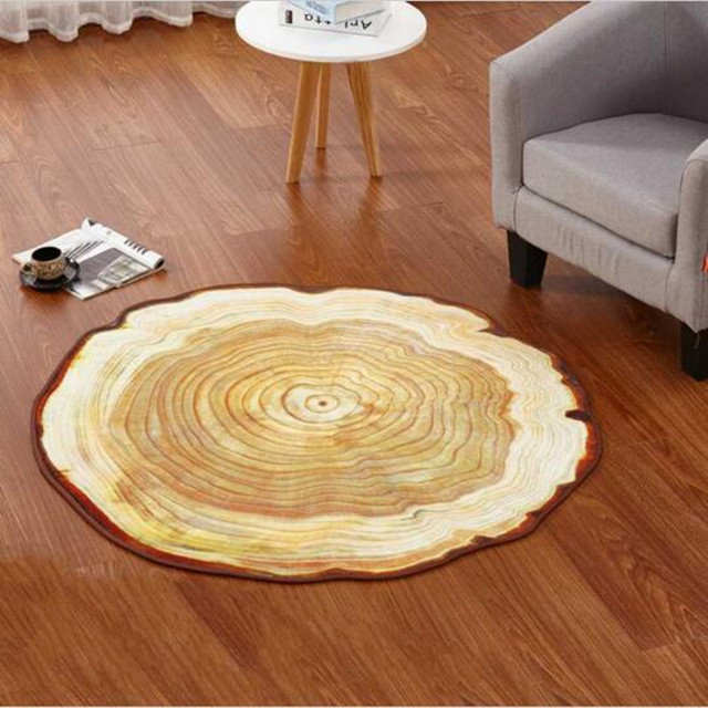 80 100 120cm antique wood tree annual ring round carpet for living