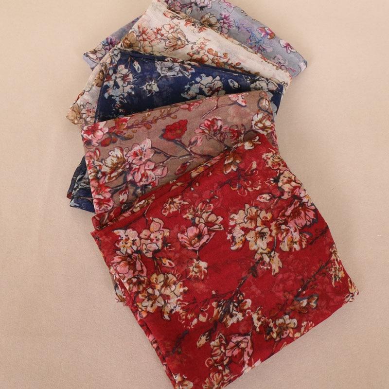 Flower print viscose scarf for women muslim long scarves beach light and thin shawl summer headband