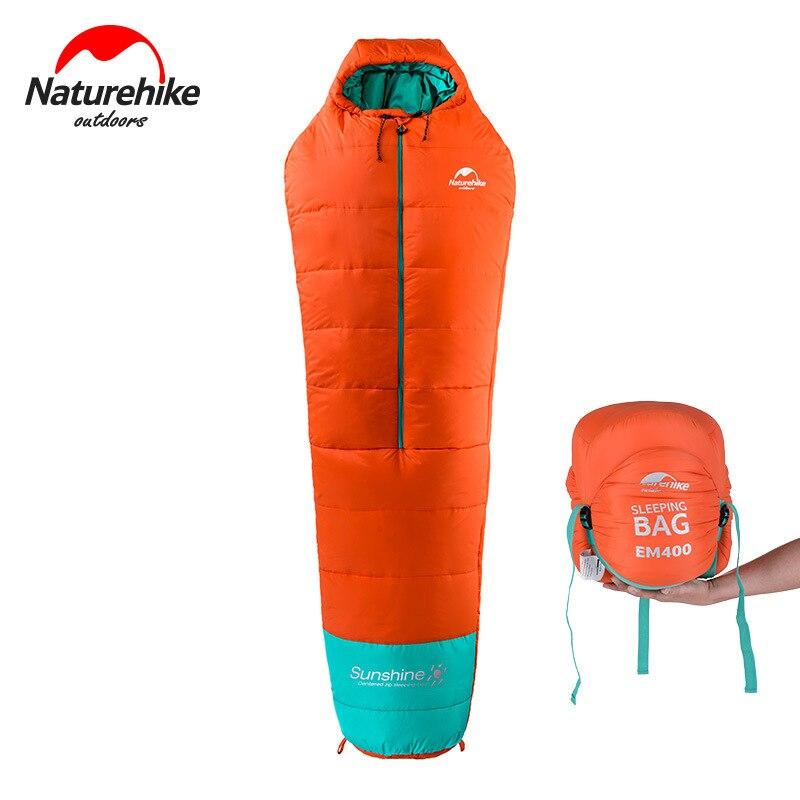 Naturehike EM200/EM400 Mummy Cotton Sleeping Bag With Middle Zipper Lengthened Adult Portable Outdoor Camping Hiking Cotton цены
