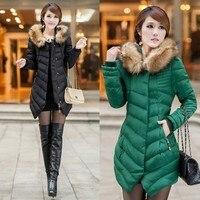 2014 new women's winter down cotton padded jacket coats female woman medium long slim wadded jacket coat outerwear clothing