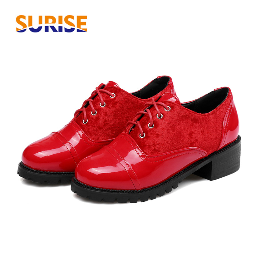 Big Size Casual Women Oxford Squre Heel Platform Patent Leather Pleuche Patchwork Round Toe Lace Up Lady British Red Lady Brogue
