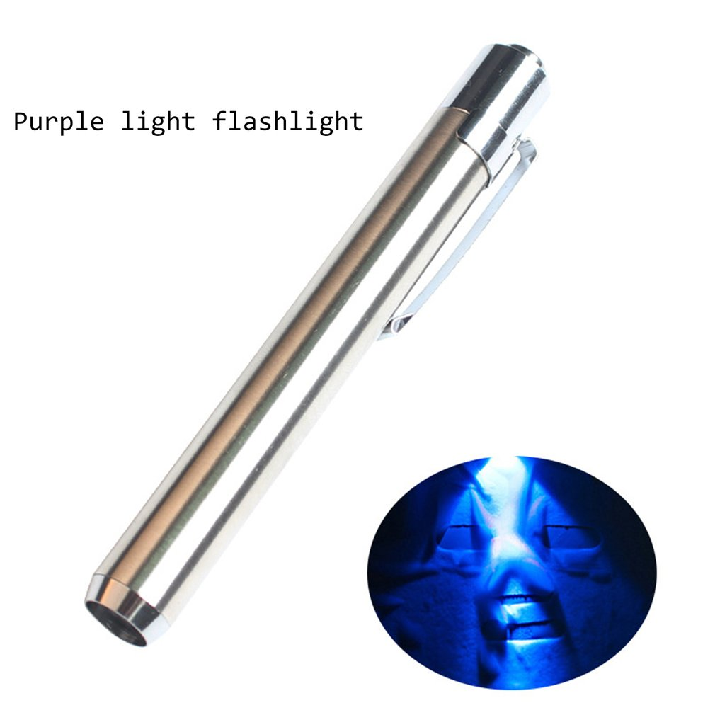 Mini Portable LED Purple Flashlight Pen Silver Fluorescent Agent UV Glue With AAA Battery For Business Gift Outdoor Light
