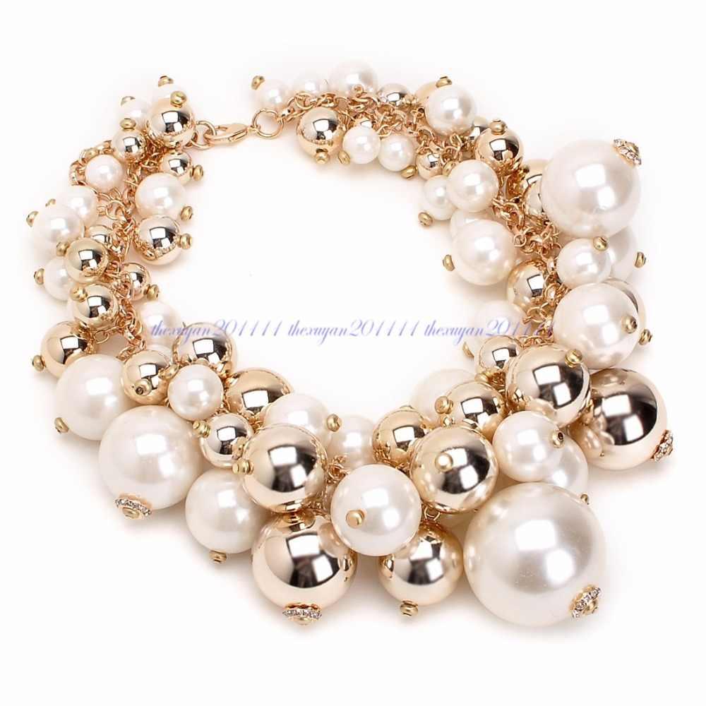 Модная Золотая цепочка с белыми жемчужными бусинами, колье с подвеской, идеальные вечерние свадебные подарки на день Святого Валентина, большое ожерелье