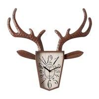 Deer Head Wall Clock Living Room Creative Hanging Table Nordic Restaurant Retro Clock Mute Quartz Ornaments Wall mounted Clocks