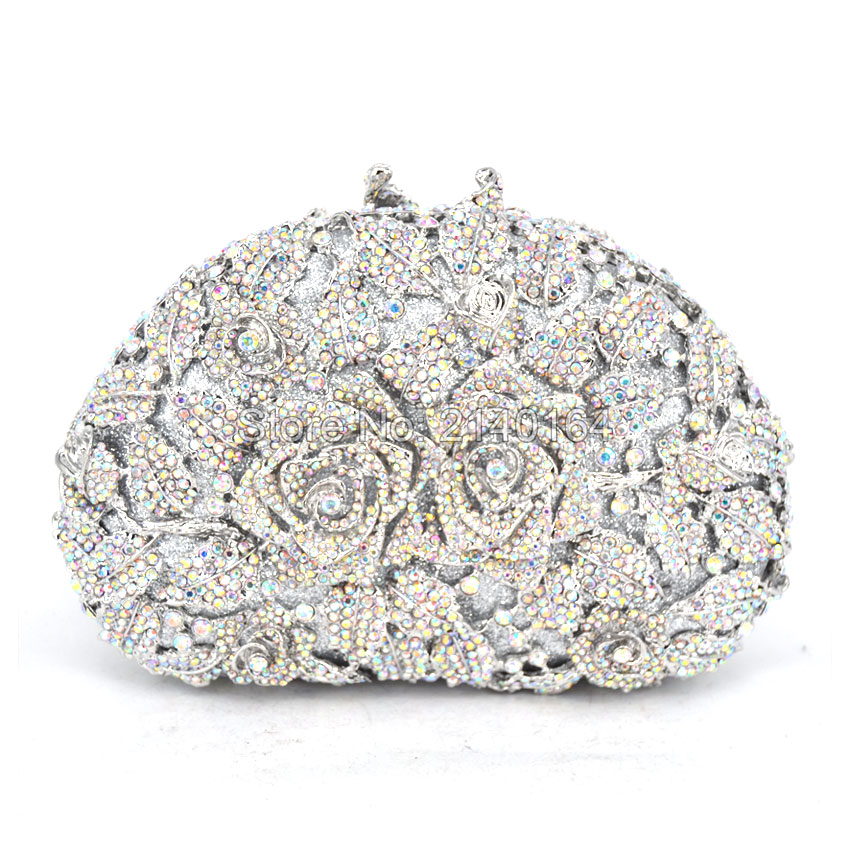 silver Rose Flower Evening Bag Crystal Party Handbag Fashion Women Clutches Wedding Night Bag (88303-E) luxury real new arrival day clutches diamonds flower women bag banquet crystal handbag wedding party handbags night clubs purse