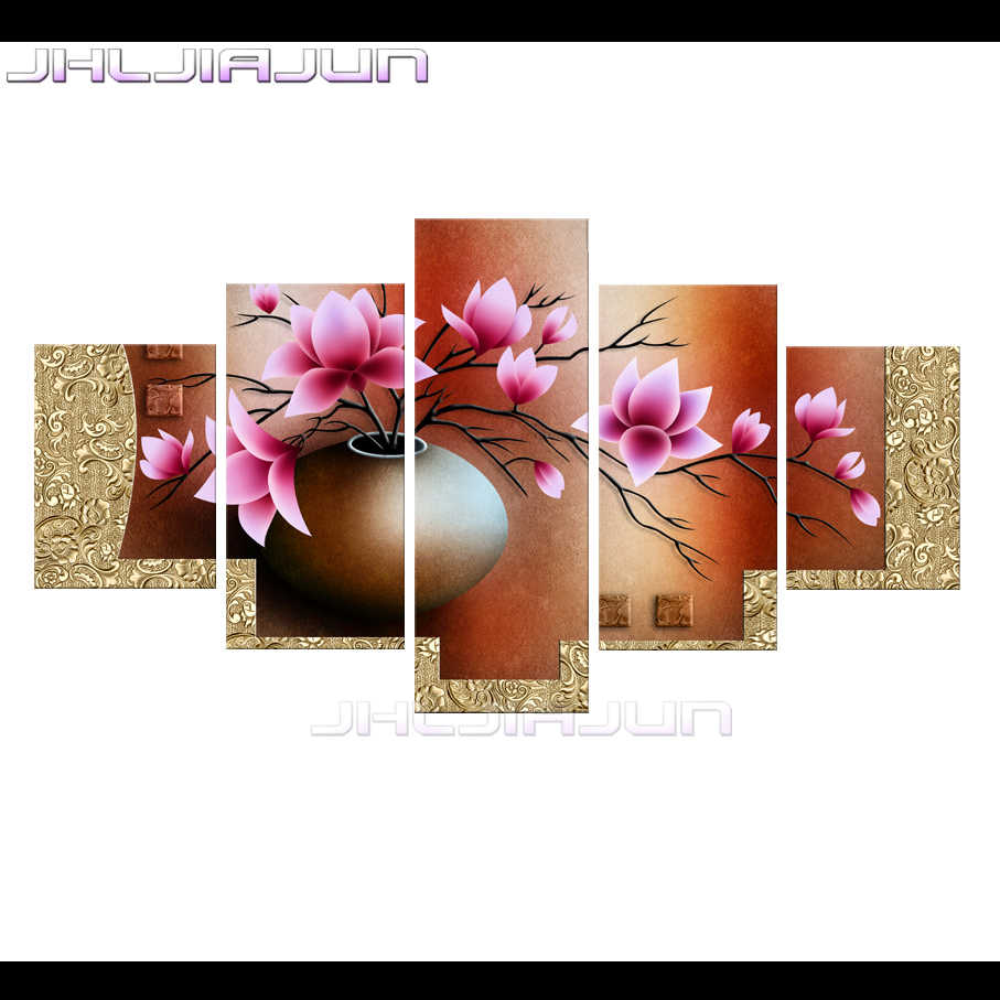 Home Decoration Movie poster 5 pieces HD print canvas oil painting has framework gold orchid Modular picture Child room Nordic
