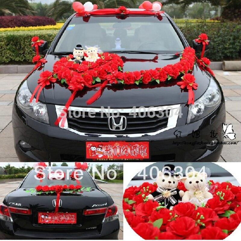 Fleurs artificielles 1 ensemble/lot décoration de voiture de mariage ensemble rouge rose violet fleur de voiture de mariage avec ours fleurs décoratives couronnes