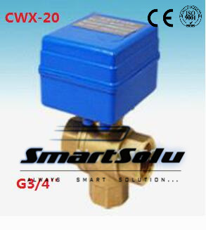 Free Shipping CWX-20 Electric Ball Valve BSP3/4'' 12VDC Brass 3 Way Valve Water Control Systems CR01 or CR02 Control type free shipping cwx 20 brass mini electric 3 way ball valve g1 2 water treatment havc 5v control type cr01 or cr02