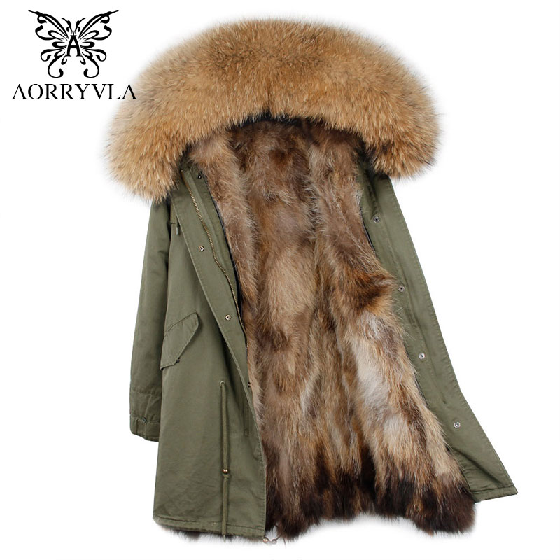 AORRYVLA 2017 New Winter Women Fur Parka Long Natural Raccoon Fur Hooded Coat Real Raccoon Fur Liner Thick Warm Winter Jacket 2017 winter new clothes to overcome the coat of women in the long reed rabbit hair fur fur coat fox raccoon fur collar