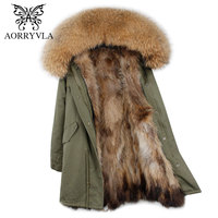 AORRYVLA 2017 New Winter Women Fur Parka Long Natural Raccoon Fur Hooded Coat Real Raccoon Fur