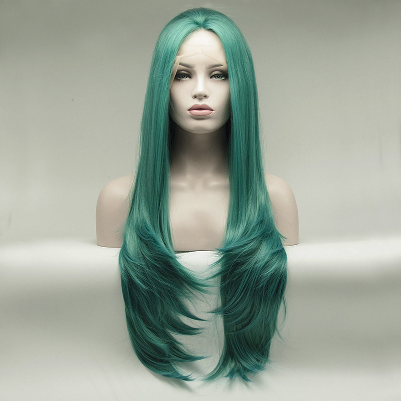 Fantasy Beauty Synthetic Lace Front Wigs For Women Straight Blue Green Color Heat Resistant Fiber With Natural Hairline