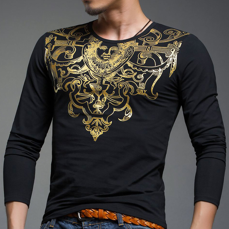 Brand long sleeve t shirts men printed golden t shirt for Mens printed long sleeve shirts