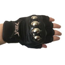Summer motorcycle Gloves Stainless Steel Half Finger Gloves Motocross Racing Protective gloves Moto Guantes Motocicleta Luvas цена