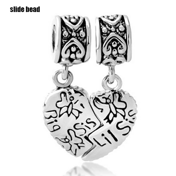 Slide beads Free freight big sister pendant charm beads. Suitable for Pandora bracelets and necklaces. beads for jewelry making