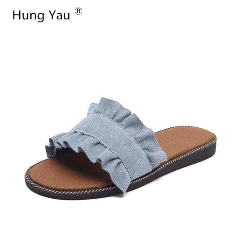 Hung Yau Women's Slippers Beach Sandals Women Comfortable Wedge Slides Summer Style Denim Shoes 2018 Sweet Flats Casual Shoes вода мицеллярная avene авен клинанс мицеллярная вода флакон 400 мл