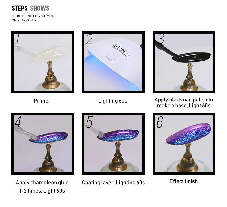 Sarness 3D Glitter Hijau Gel Nail Polish Chameleon Bahasa Perancis Esmaltes Uv Gel Polandia Warna Permanentes LED Cepat Kering UV Kuku gellak