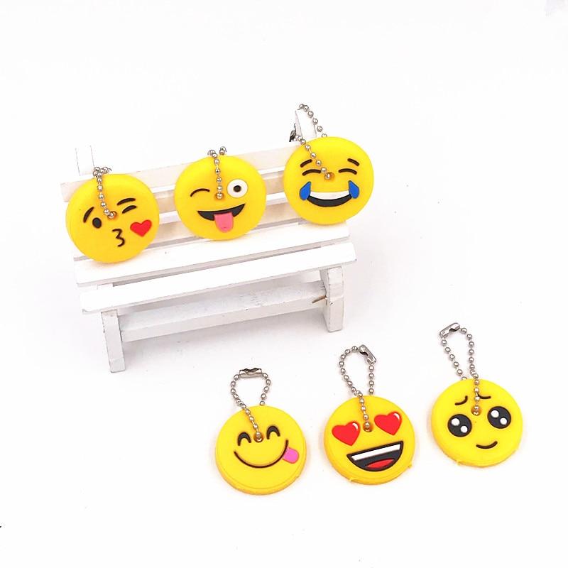 1 Pack Funny Emoji Lächeln Gesicht Kühlen Silikon Schlüssel Abdeckung Schlüssel Kette Cartoon Schlüssel Kappe Schlüssel Ring Autos Keychain Für Taschen Kinder Handwerk