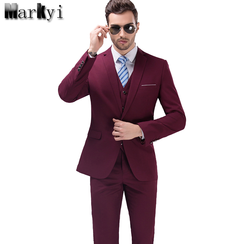 MarKyi 2017 Merek Terkenal Mens Suits Pernikahan Groom Plus Ukuran 5XL 3 Pieces (Jaket + Rompi + Celana) Slim Fit Kasual Tuxedo ...