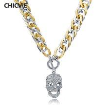 Chicvie модное шелковое ожерелье с кулоном череп дисплей женщин
