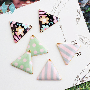 Ritoule Small fresh pattern simple triangle triangle earrings pendant earrings necklace jewelry material DIY alloy elegant triangle alloy shirt collar tips necklace silver