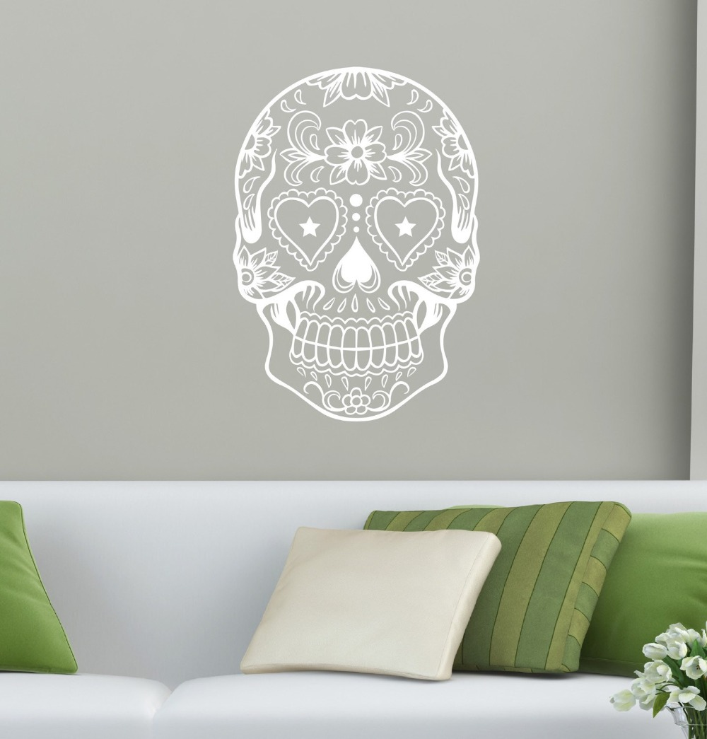 Tribal patterned sugar skull head wall stickers home livingroom tribal patterned sugar skull head wall stickers home livingroom cool fashion decor art wall decals creative skull pattern wm 591 in hair clips pins from amipublicfo Gallery