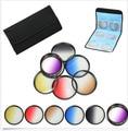 55 mm 6 unids graduado gris + azul + verde + purple + amarillo + rojo Color ND filtro de densidad neutra Kit case para canon nikon sony 55 mm lente