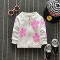 Mais novo 2016 Outono Do Bebê Meninas Flores Impressão Casaco de Algodão Infantil/Recém-nascidos Cardigan Casaco Fashin Coreano Crianças dos miúdos Outerwear
