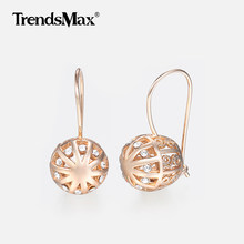 Cubic Zircon Cut Out Earrings for Women 585 Rose Gold Earrings Woman Earring Hot Party Wedding Jewelry Valentines Gifts KGE123(Hong Kong,China)