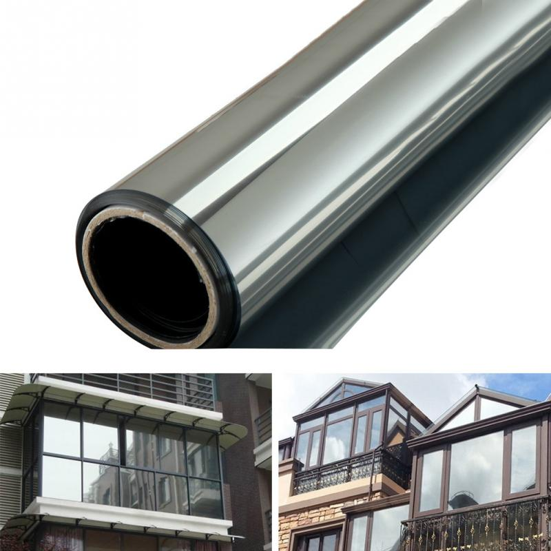 Silver Waterproof Wall Sticking Films Office Door Home Bedroom Bathroom One Way Mirror Insulation Glass Stickers