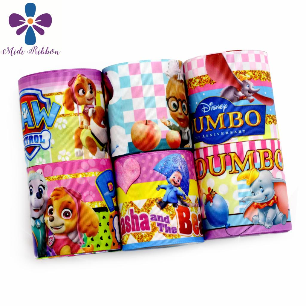 Persevering 16mm-75mm Cartoon Movie Series Cute Dogs Colorful Paw Printed Grosgrain/elastic Ribbon Elephant Gold Waves Stripes 50yards/roll Ribbons Home & Garden