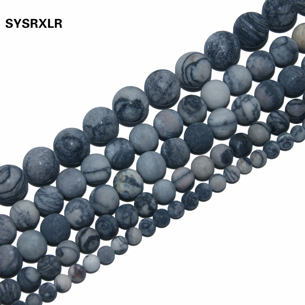 Jewelry & Accessories Wholesale Charm Natural Stone Network Stone Beads Frosted Beads For Jewelry Making Diy Bracelet Necklace 4/6/8/10 Mm Strand 15 Colours Are Striking