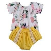 Newborn Baby Girls Print Clothes Short Sleeve Bodysuit + Lovely PP Pants 2pcs Cute Floral Baby Sets