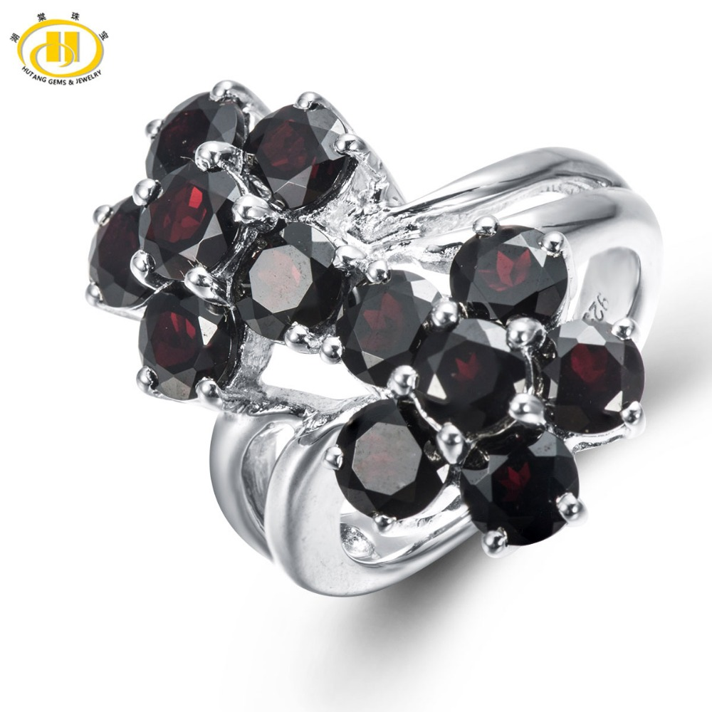 HUTANG 7.32ct Natural Black Garnet Solid 925 Sterling Silver Flower Ring Gemstone Fine Jewelry Womens Christmas Gift