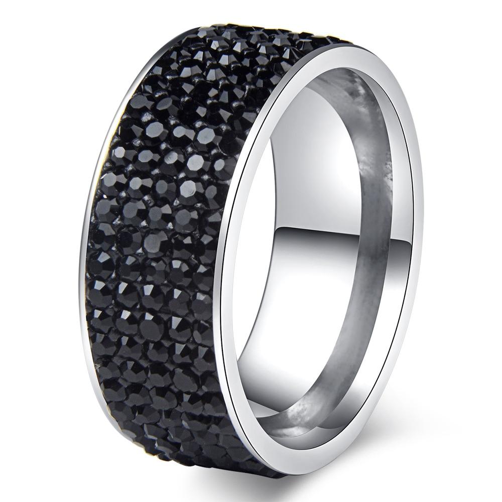 Chanfar 5 Rows Crystal Stainless Steel Ring Women for  Elegant Full Finger Love Wedding Engagement Rings Jewelry Men 4