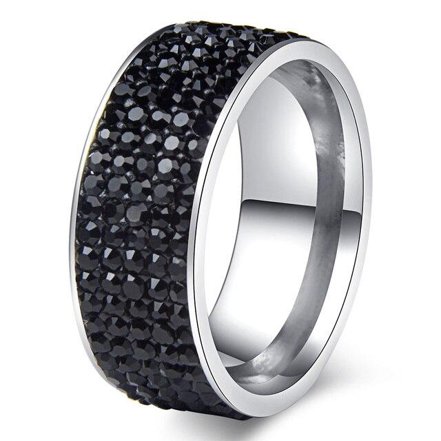 Chanfar 5 Rows Crystal Stainless Steel Ring Women for  Elegant Full Finger Love Wedding Engagement Rings 4