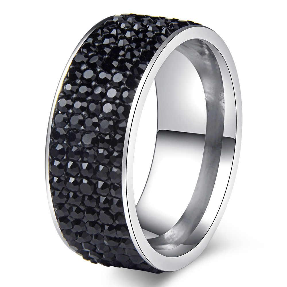 Chanfar 5 строк кристалл из нержавеющей стали кольцо для женщин для элегантного полного пальца Любовь Свадебные обручальные кольца ювелирные изделия для мужчин