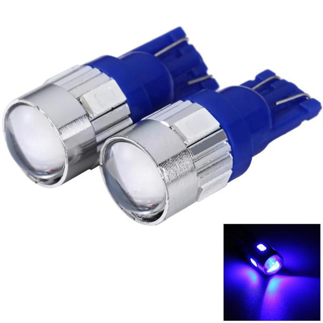 Car Auto License Plate Lamp Bulb  External Lights with Lens Blue Light 2pc T10 DC 12V 0.5W SMD 5630 6 LEDs Low Power Consumption