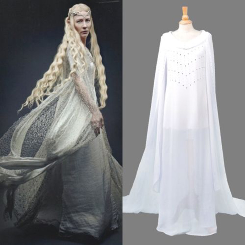Halloween Lord of the Rings The Hobbit Lady Galadriel Cosplay Customes white masquerade dress handmade customized