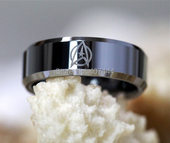free shipping ygk jewelry hot sales 8mm silver beveled star trek design mens tungsten ring wedding - Star Trek Wedding Ring