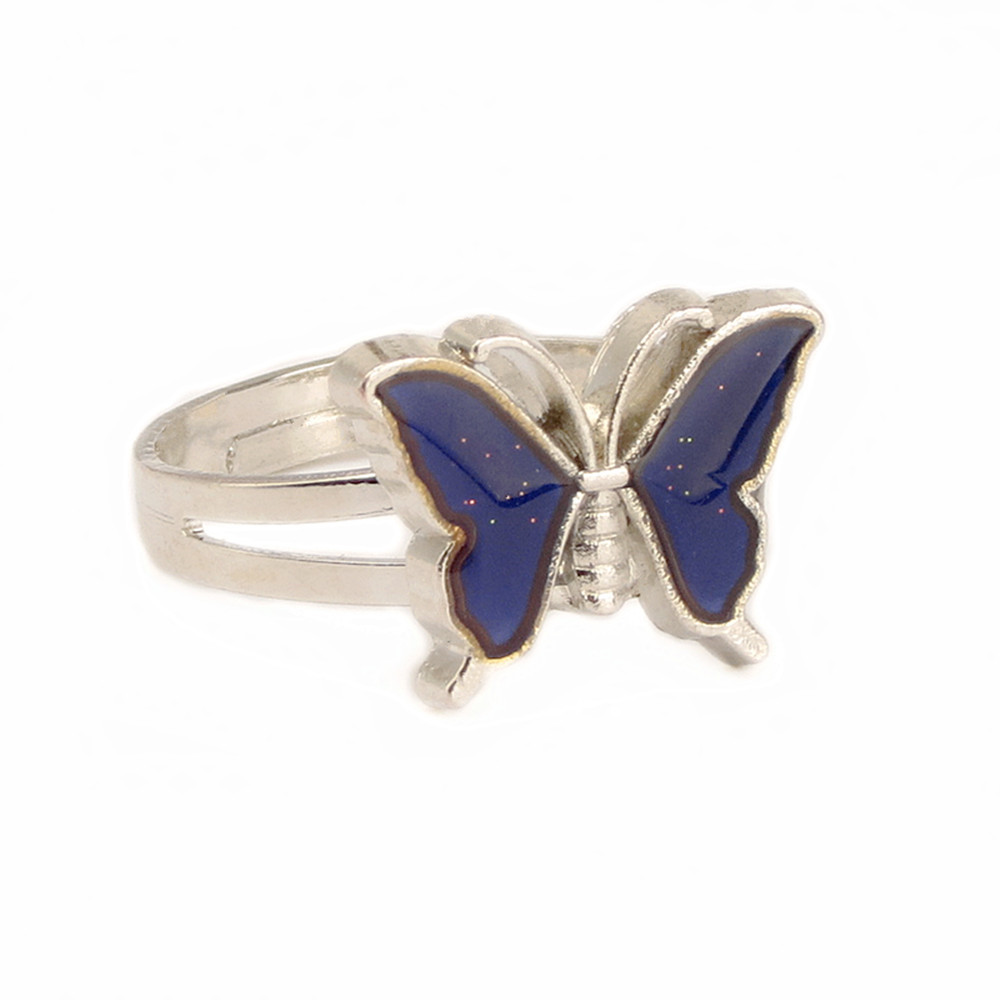 2018 Fine Jewelry Mood butterfly Ring Temperature Changing Color Feeling Ring Party Supplies Emotion Creative Gift